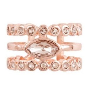 NEW Luv AJ Marquise Diamond Disc Ring - Rose Gold